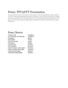 Poetry Analysis Presentation (TPCASTT)