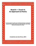 Poetry Analysis Project: Read It -- Teach It!