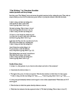 "Poetry Analysis: Roethke's Poem, ""The Waking"" Guided Questions & Essay Prompt"