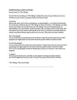 """Poetry Analysis: Roethke's Poem, """"The Waking"""" Guided Questions & Essay Prompt"""