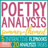 Poetry Analysis - 5 Summer Poems & 20 Poetry Analysis Tasks (Paper and Digital)
