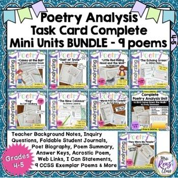 Poetry Task Card BUNDLE - Poetry Analysis 9 Poems (CCSS-ELA) 30% off!