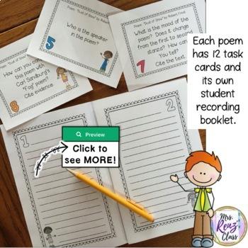 Poetry Analysis Task Card BUNDLE - 9 Poems on the CCSS-ELA list