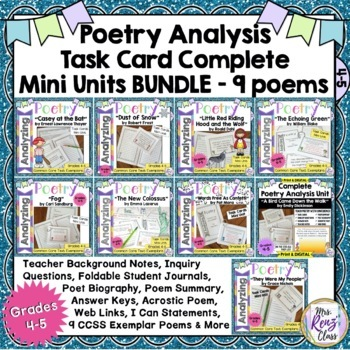 Poetry Analysis, Poetry Task Cards & MORE 9 Poems 4th & 5t