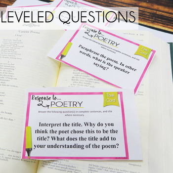 Poetry Analysis Task Cards Comprehension, Prompts, Any Poem
