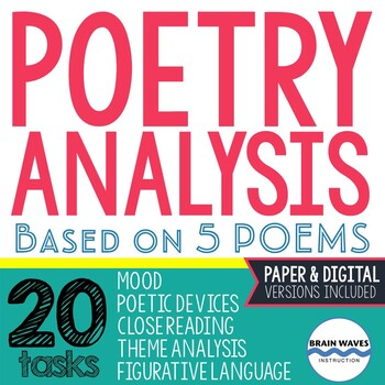 Poetry Analysis Unit: 5 Poems - 20 Analysis Tasks - Analyzing Poems Poetry Unit