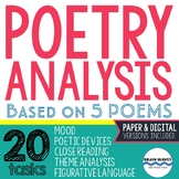 Poetry Analysis Unit: 5 Poems - 20 Analysis Tasks - Analyz