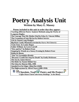 Poetry Analysis Unit (over 20 poems)