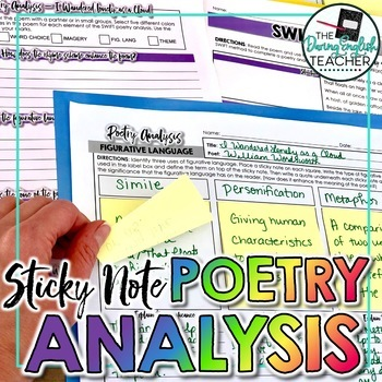 Poetry Analysis Unit with Sticky Notes: Activities, Writing, and PowerPoint