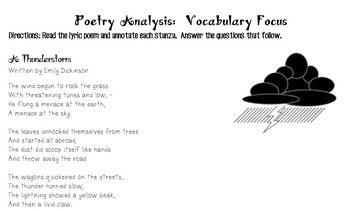 Poetry Analysis (Vocabulary Focus) - A Thunderstorm