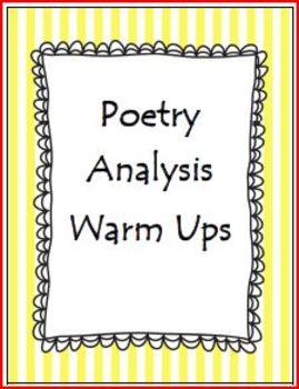 Poetry Analysis Warm Ups