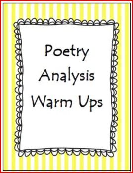 Poetry Analysis Warm Ups