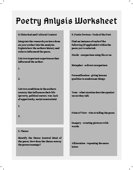 Poetry Analysis Worksheet