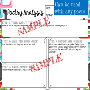 Poetry Analysis Worksheet - CCSS Step-by-step guided reading and analysis