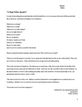"Poetry Analysis & Writing Prompt for Native American Poem: ""A Hopi Elder Speaks"""
