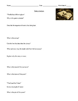 Poetry: Popular Poems' Analysis and Terminology Review with Answer Key