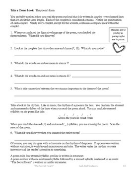 """Poetry Writing and Analysis """"The Secret Heart"""" {Middle School}"""