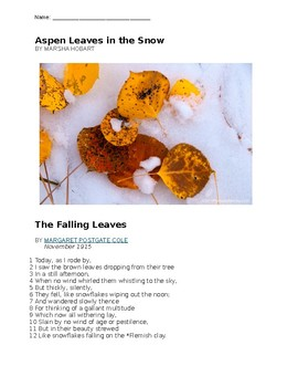 """Poetry Analysis with Device-to-Meaning chart for """"Leaves"""" by Marsha Hobart (war)"""