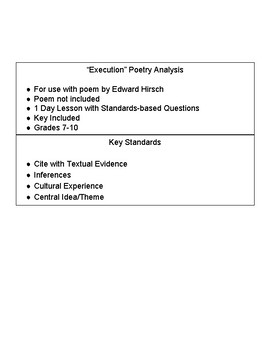 """Poetry Analysis with """"Execution"""" - Edward Hirsch"""
