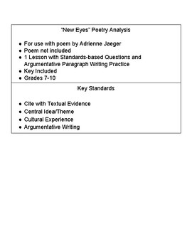 """Poetry Analysis with """"New Eyes"""" - Adrienne Jaeger"""
