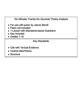 """Poetry Analysis with """"Six Minutes Twenty-Six Seconds"""" - James Morrill"""