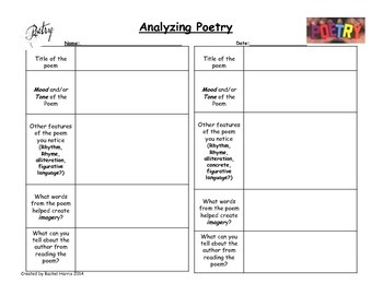 Poetry Analyzing Recording Sheet