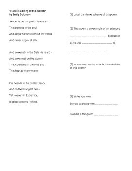 Poetry Annotation Scaffolding Worksheets