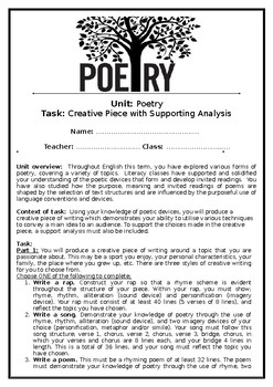 Poetry Assessment Task: Rap, Song or Poem
