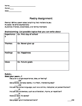 Poetry Assignment with Rubric and Directions