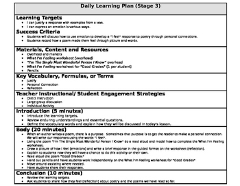 Poetry (Author's Purpose) Lesson Plan with Learning Targets