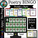 Poetry BINGO Print and No Prep Digital with Google Slides