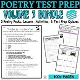 Poetry BUNDLE Vol. 3 Common Core ELA Test Prep Quizzes and Activities (5 POEMS)