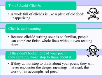 Poetry Basics - Power point discussing Elements of Poetry & Worksheets