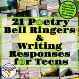 Poetry Bell Ringers with Analysis and Writing Responses - High School