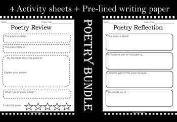 Poetry Bundle - Activities, Posters, Task card Style Definitions and Invitations
