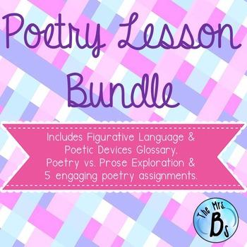 Poetry Bundle - Figurative Language, Sonnets, Limericks, Haikus, Odes & More!