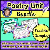 Poetry Bundle Freebie!  Alliteration, Diamante Poem and Introductory Activities!
