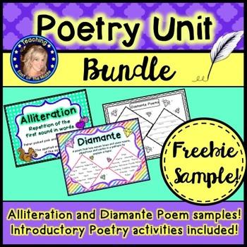 Poetry Bundle Freebie!  Alliteration, Diamante Poem and In