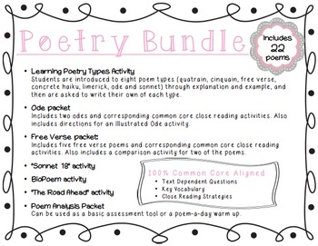 Poetry Bundle: Ode, Free Verse, Sonnet and Extension Activities