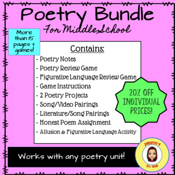 Poetry Bundle for Middle School- 20% off/ Use with any poetry