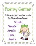 Poetry Center/Worksheets Diamante, Haiku, Cinquain, Limerick, Acrostic