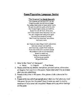 Poetry Centers - Directions and Student Centers Packet Included
