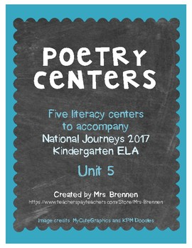 Poetry Centers for HMH National Journeys 2017 Kindergarten, Unit 5