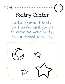 Poetry Centers for HMH National Journeys 2017 Kindergarten, Unit 1