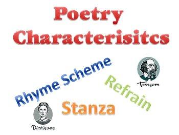 Poetry Characteristics - Stanza, Refrain, Rhyme Scheme