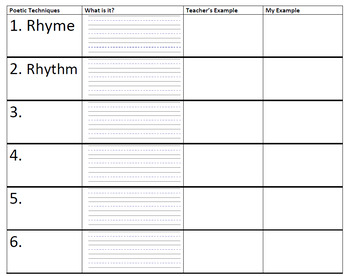 Poetry Chart- Blank