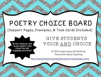 Poetry Choice Board/Menu (Support Activities & Task Cards Included)