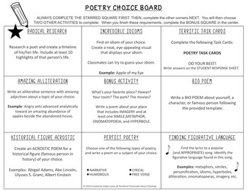 Choice boardmenu support activities task cards included poetry choice boardmenu support activities task cards included pronofoot35fo Gallery