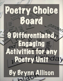 Poetry Choice Board of Activities - Common Core Aligned, Differentiated