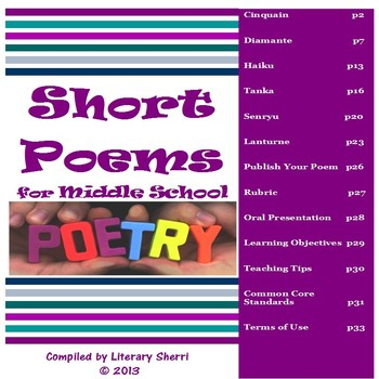 Short Poems for Middle School (Grades 6, 7, 8)